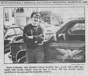 Jim Eckhardt, who founded Censor Security, Inc., stands with several vehicles from his fleet of seven in this 1988 Rutland Herald picture